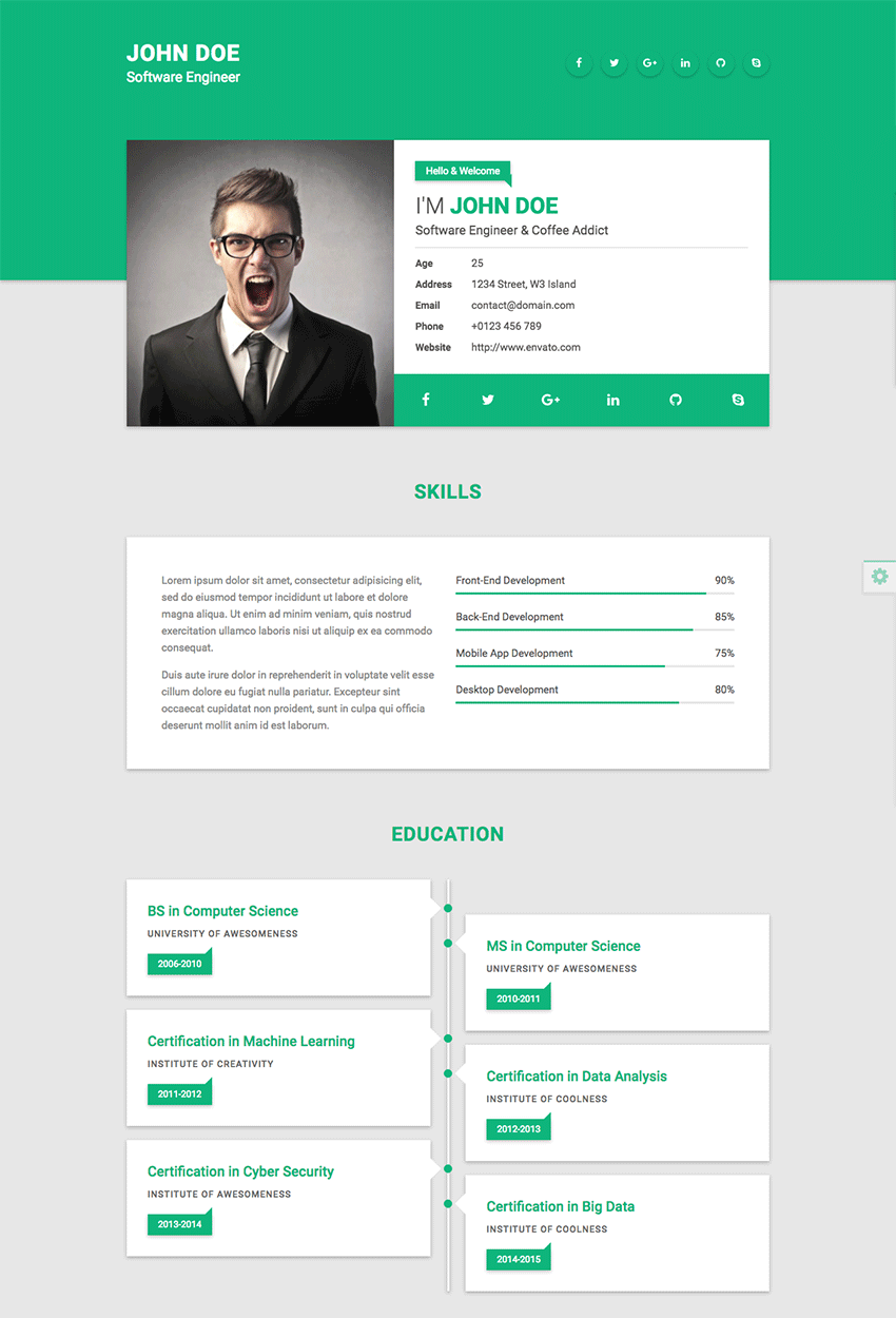 template site web cv