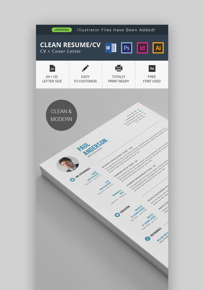 clean template cv photoshop