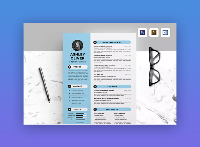 18+ Modern Resume Templates With Clean (Elegant) Designs (2018) - resume design