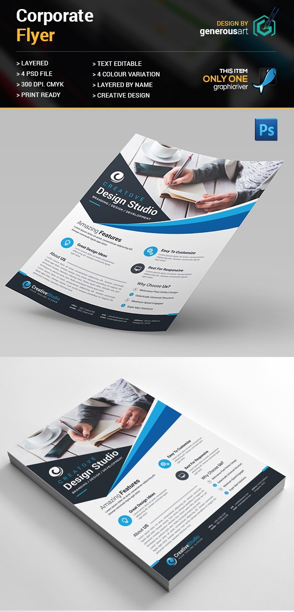 20 Business Flyer Templates With Creative Layout Designs - psd brochure design inspiration