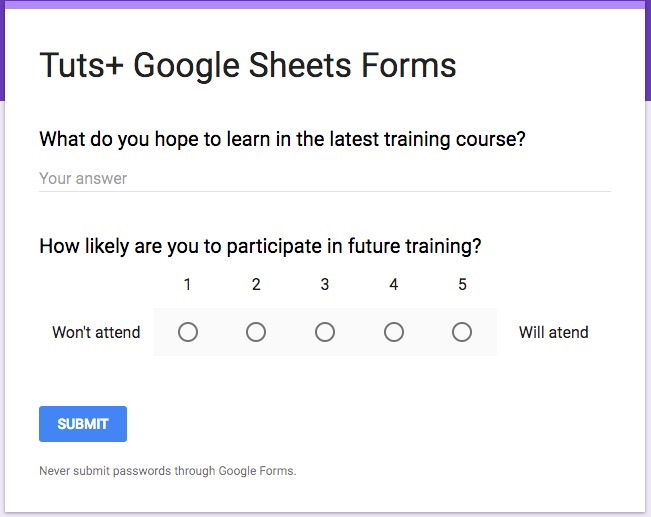How to Create Web Input Forms With Google Sheets - simple will form