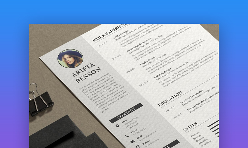 cv indesign template free download