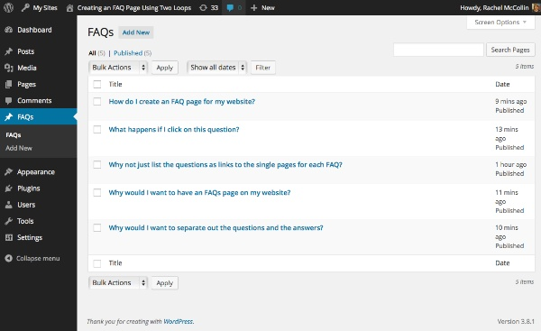 Creating an FAQ Page Using Two Loops
