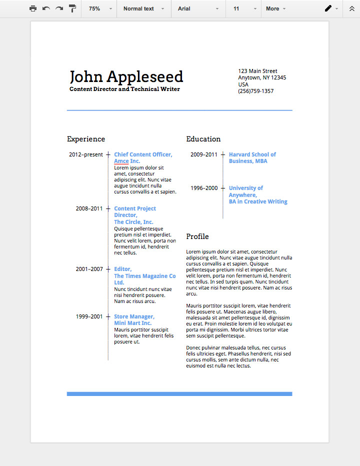 creative cv templates google docs