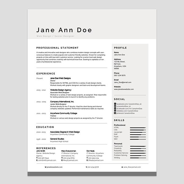 free modern resume templates free minimal resumecv template - modern resume templates free