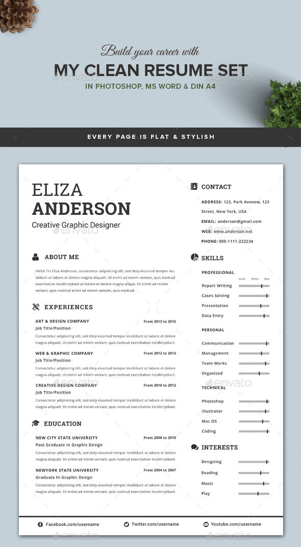 27 Creative Photoshop Indesign Resume Templates Personalize A Modern Resume Template In Ms Word