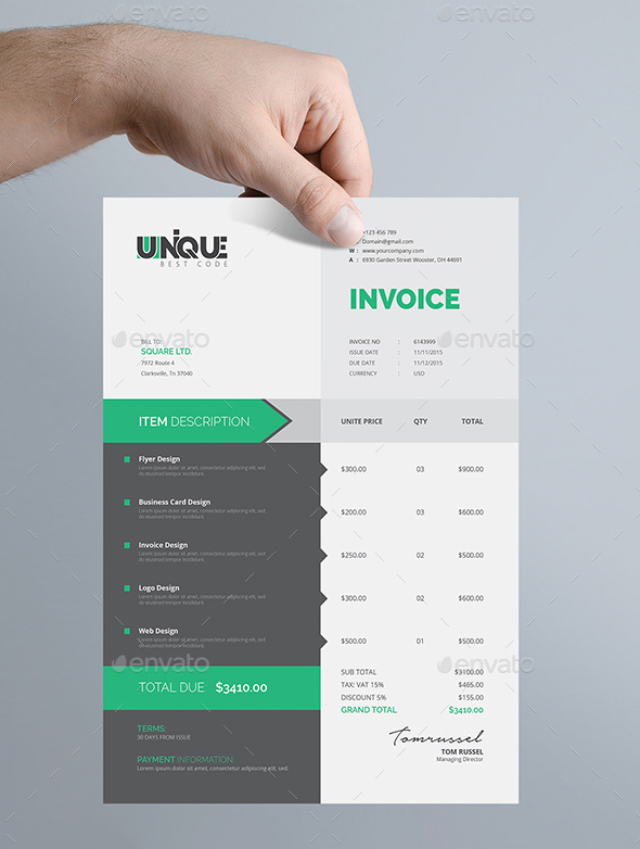 The Best Invoice Payment Terms to Avoid Past Due Invoices - graphic design invoice sample