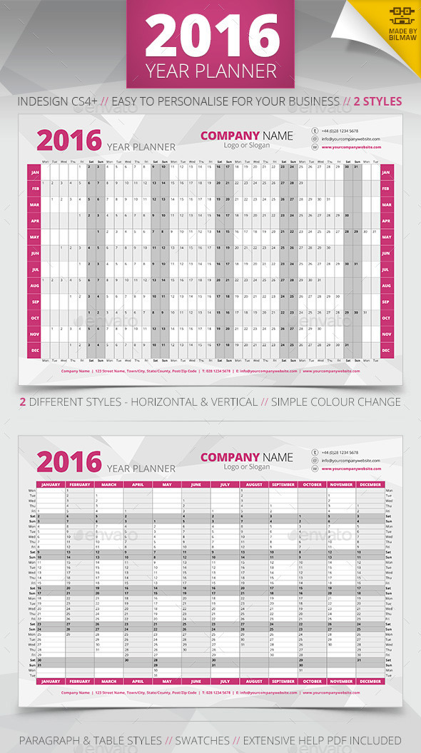 Get Ready for 2016 With Printable Monthly Calendar and Blank Planner - business calendar templates