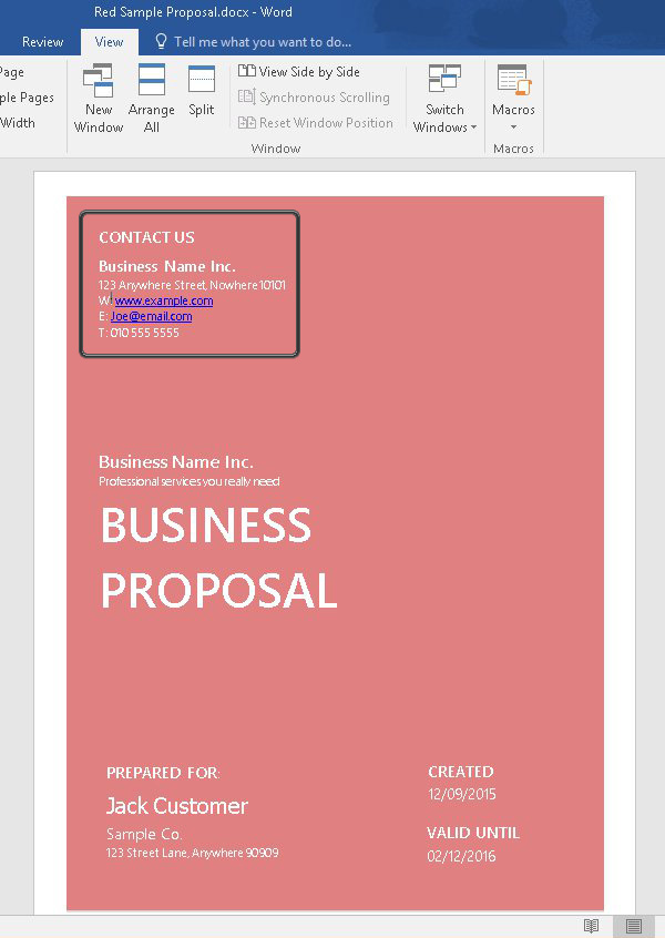How to Customize a Simple Business Proposal Template in MS Word - microsoft business proposal template