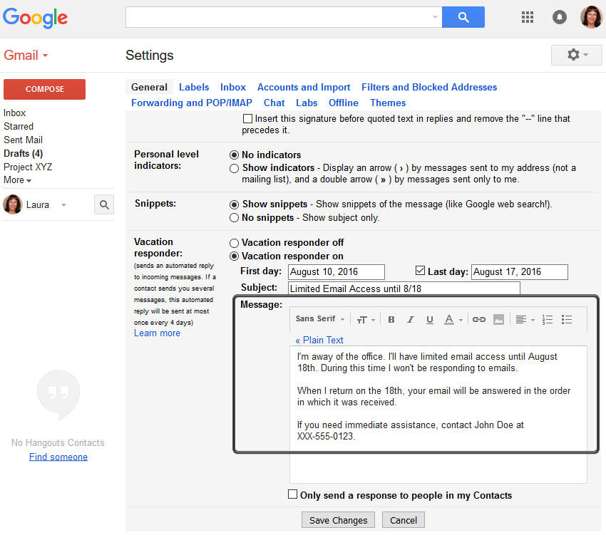 How to Set Up a Gmail (Out of Office) Vacation Responder Email