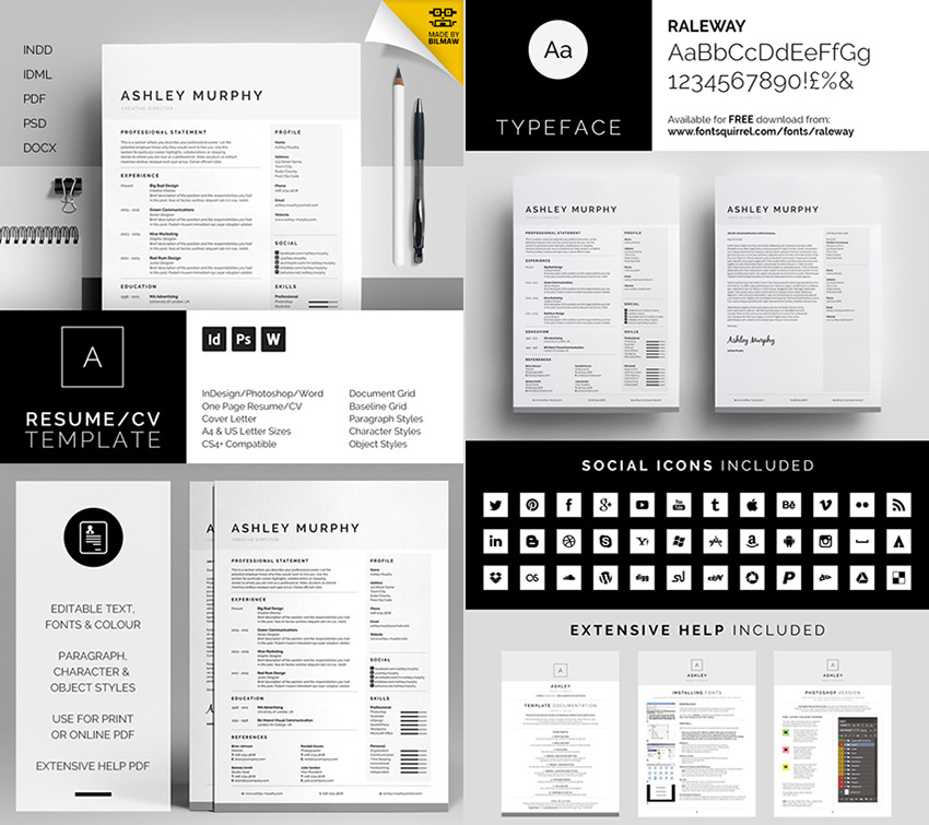 20+ Professional MS Word Resume Templates With Simple Designs - Suggested Font For Resume