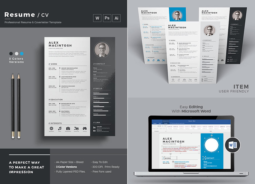 20+ Professional MS Word Resume Templates With Simple Designs - Resume Template Word Free