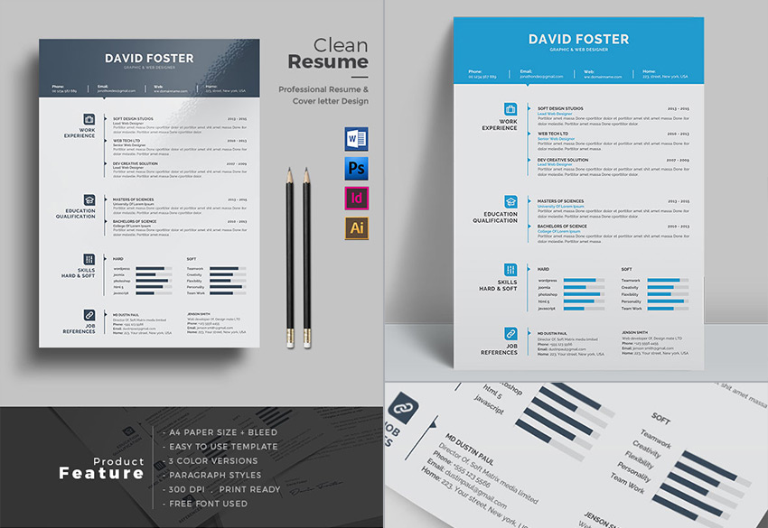 20+ Professional MS Word Resume Templates - With Simple Designs - microsoft office word resume templates