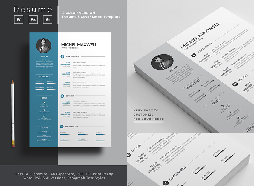 25+ Professional MS Word Resume Templates With Simple Designs for 2019