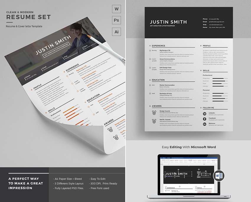 20+ Professional MS Word Resume Templates With Simple Designs - Free Graphic Design Resume Templates