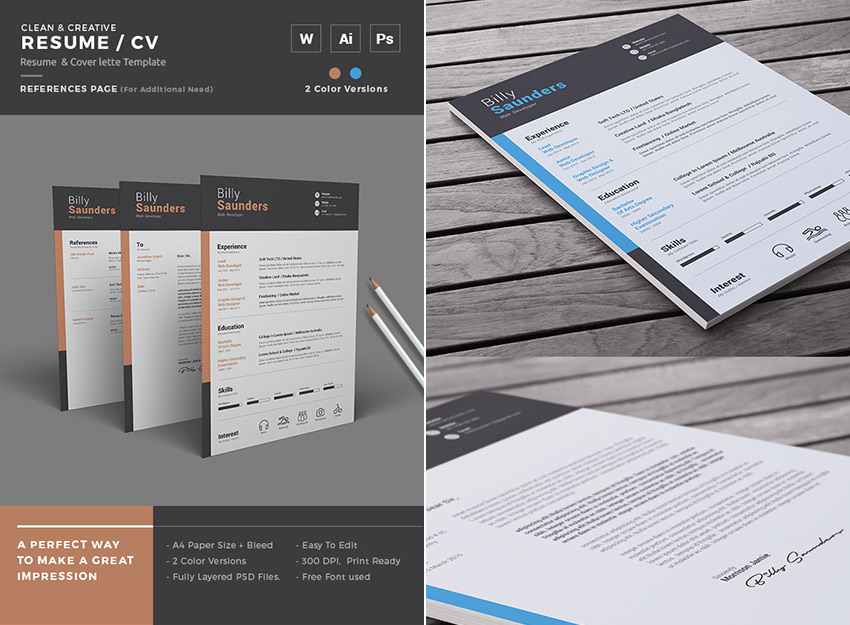 20+ Professional MS Word Resume Templates With Simple Designs For 2018 - Resume In Word