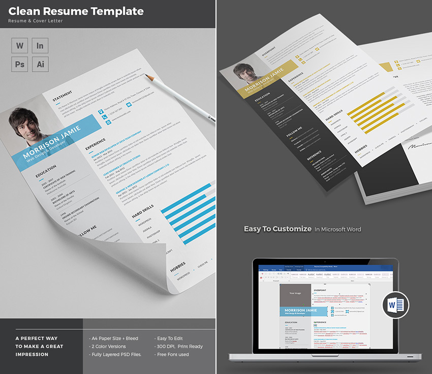 20+ Professional MS Word Resume Templates With Simple Designs - Does Microsoft Word Have A Resume Builder