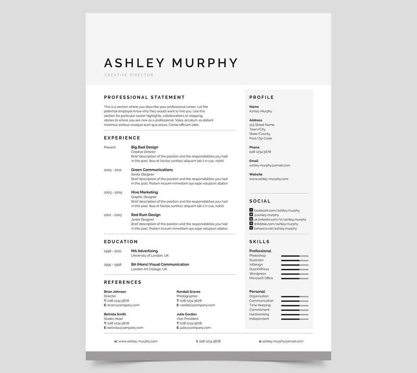 20+ Professional MS Word Resume Templates With Simple Designs - Simple Resume Design