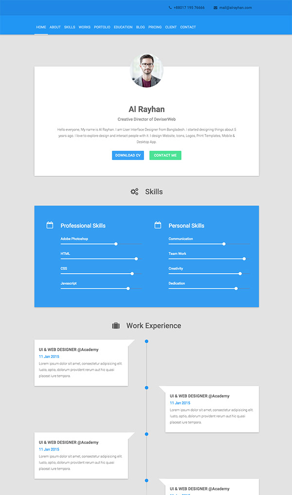 personal resume html template