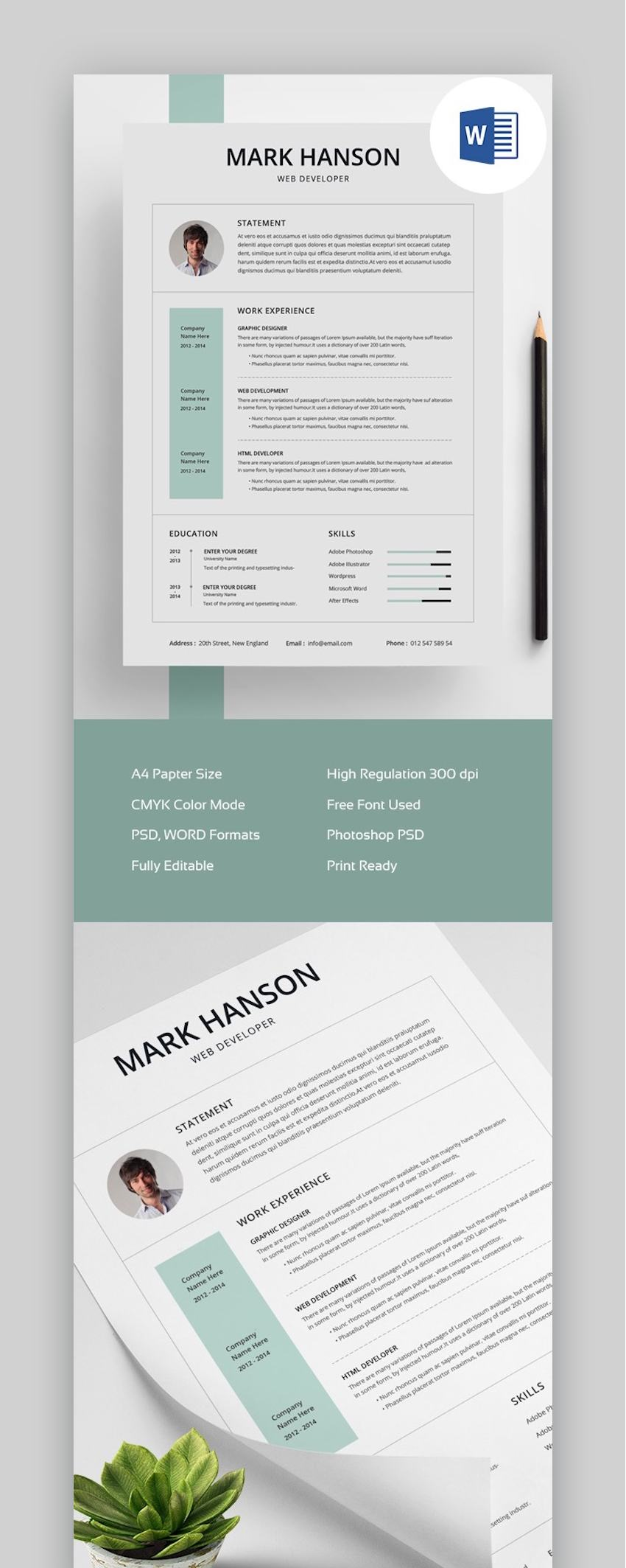 25 Free Creative Resume Templates Word Psd Downloads For 2021