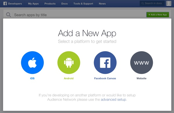 Building Your Startup OAuth - Facebook Dev Console Add an App