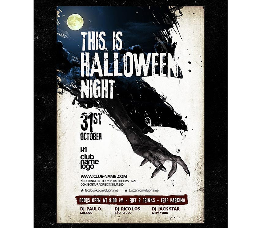 64 Awesome Halloween Invitations and Flyers for Your Spooky Celebrations - blank halloween flyer templates
