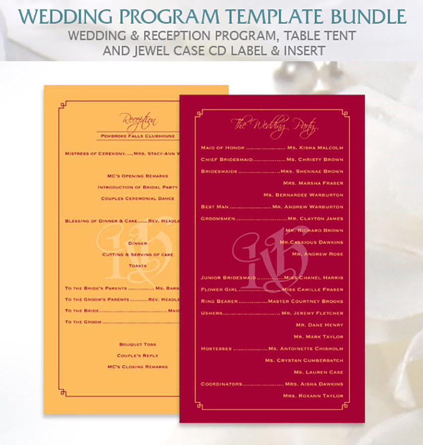 20 Elegant Wedding Program Templates - how to design wedding program template