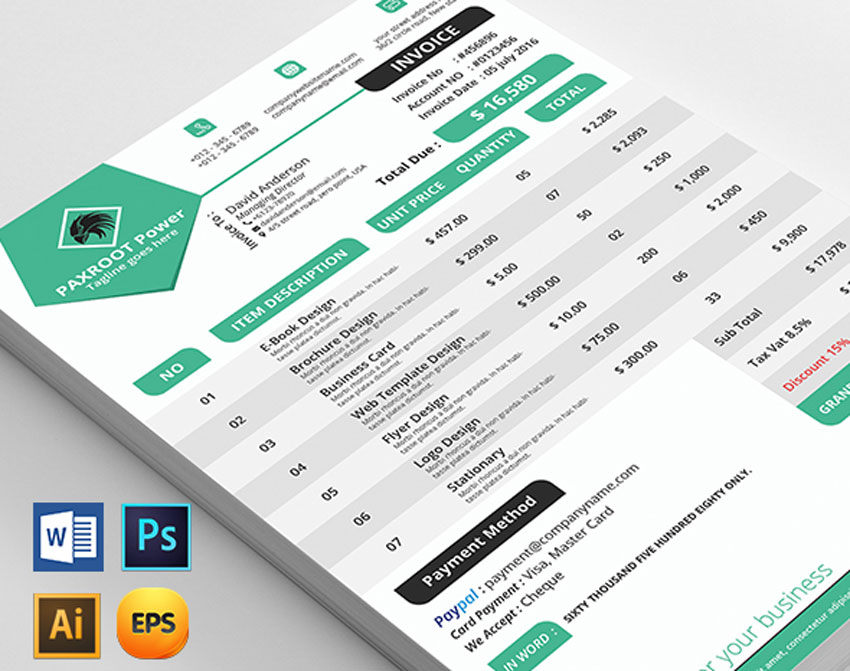 35 Invoice Templates for Corporations  Small Businesses - professional invoice template