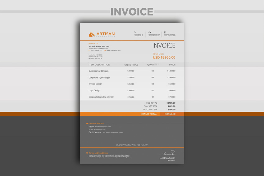 35 Invoice Templates for Corporations  Small Businesses - invoice template with logo