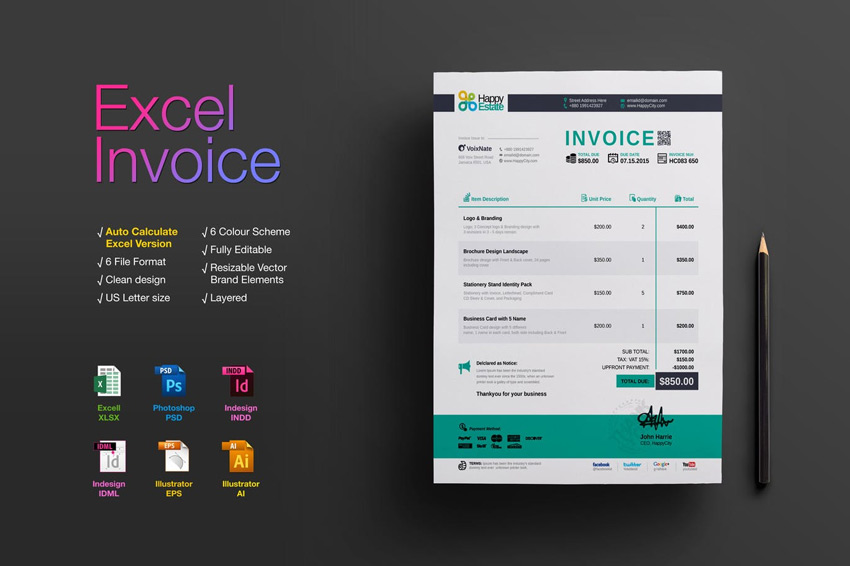 35 Invoice Templates for Corporations  Small Businesses - invoicing in excel