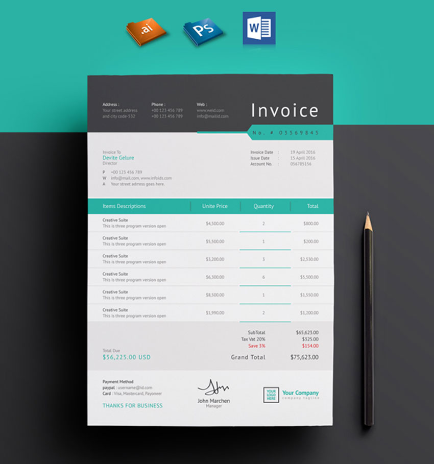 35 Invoice Templates for Corporations  Small Businesses - invoice style