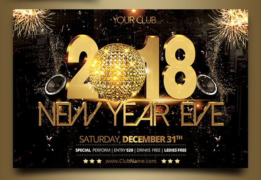 30 Best New Year\u0027s Eve Flyers and Invitations - new years party flyer