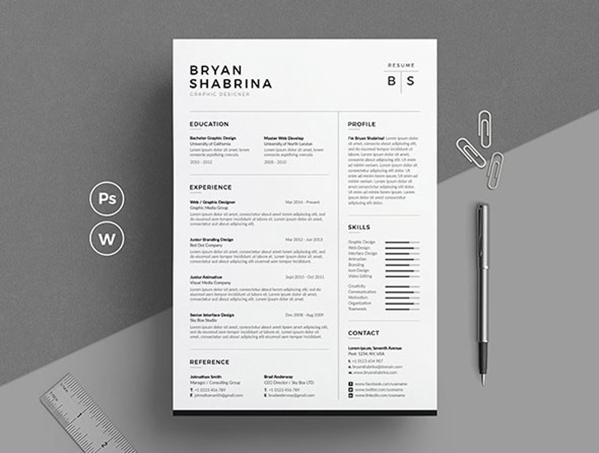 Best of 2017 Stylish, Professional CV  Resume Templates - Designing A Resume