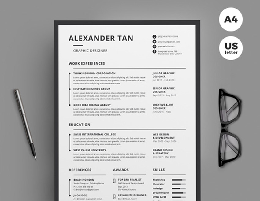 Best of 2017 Stylish, Professional CV  Resume Templates - clean resume template