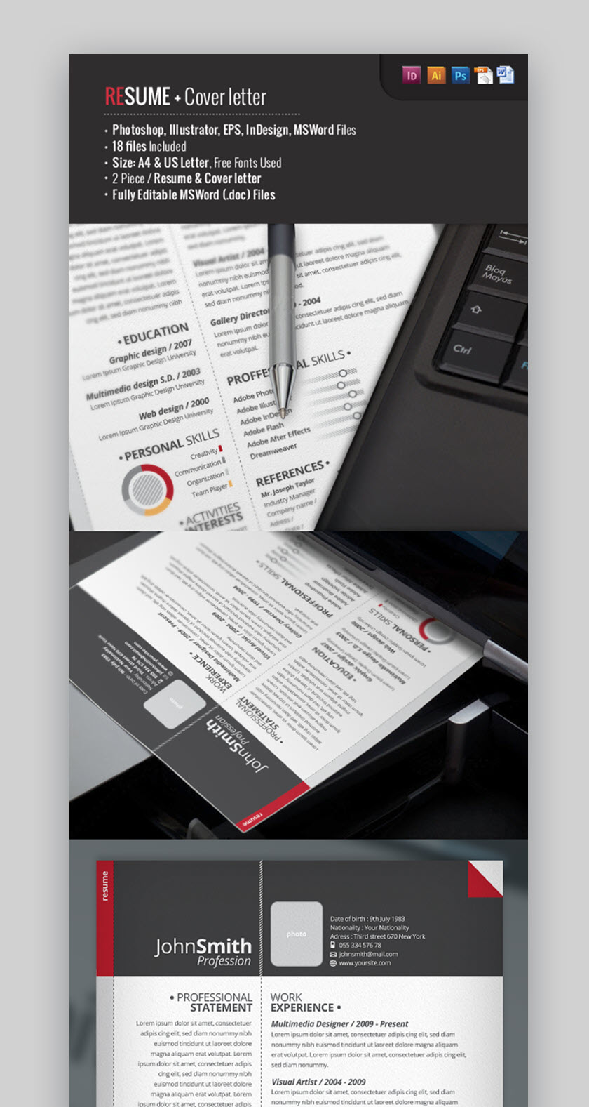 cv template pack psd