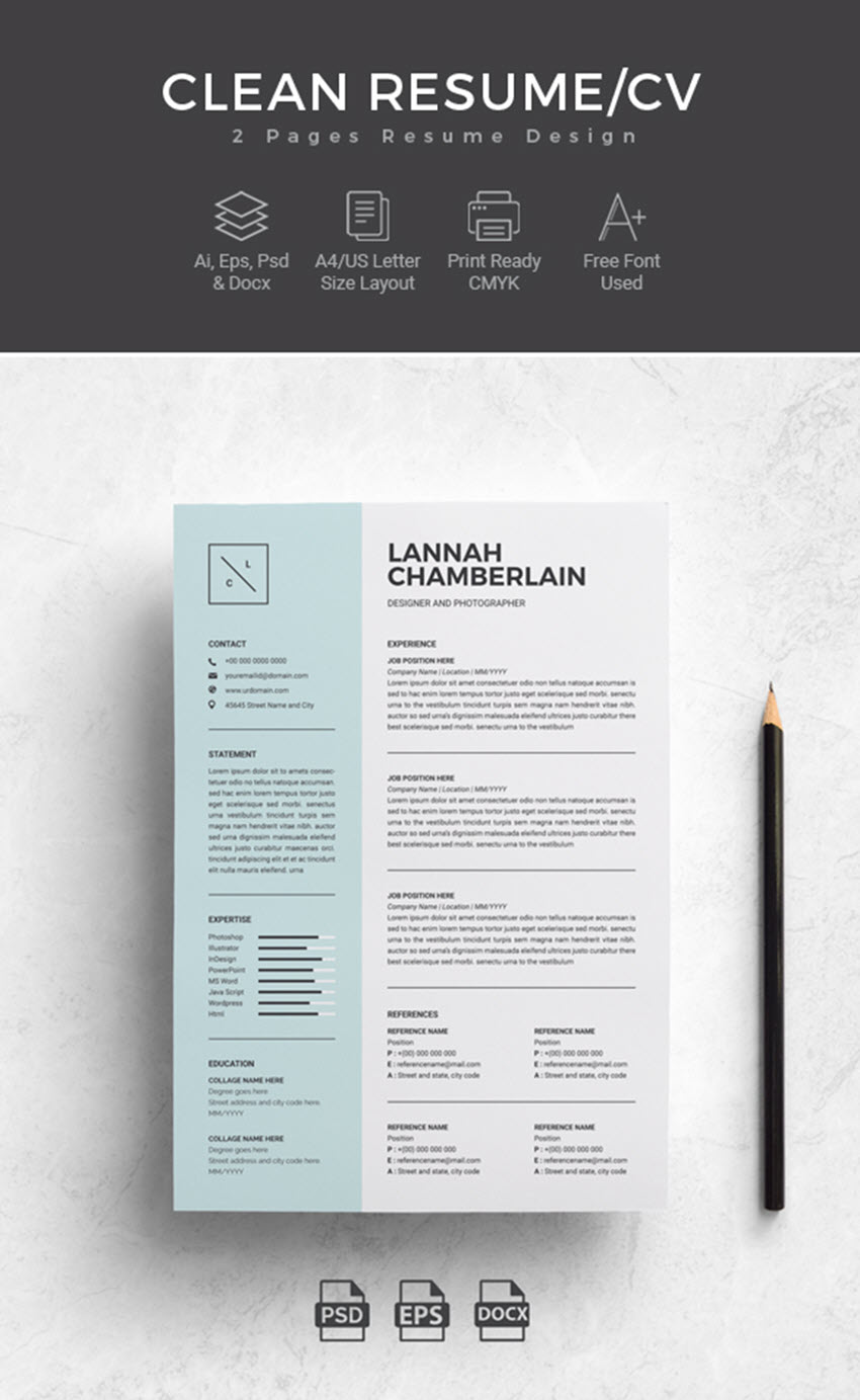 microsoft word 2 page resume template