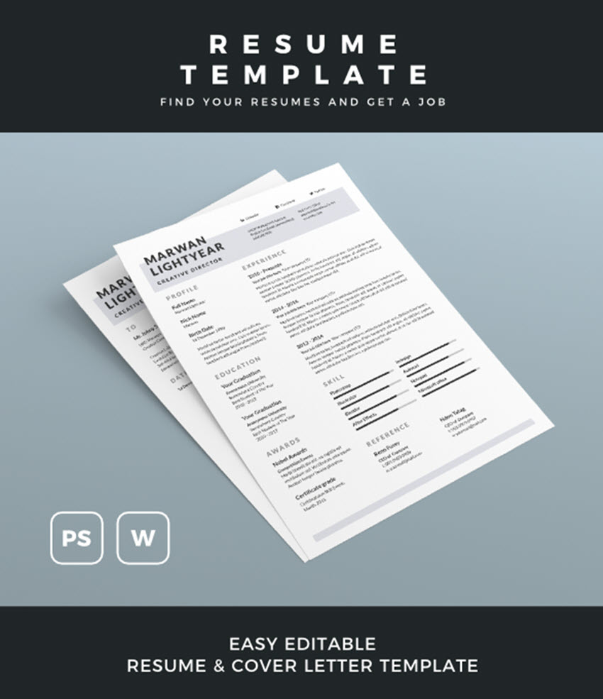 Microsoft Word Resume Template 25 Professional Ms Word Resume Templates With Simple Designs For 2019