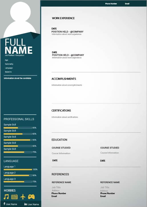 CV / Resume Templates Design Services in Nigeria - Contemporary