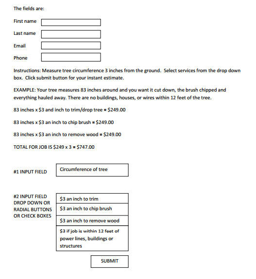 I need to create an instant online estimate form JotForm