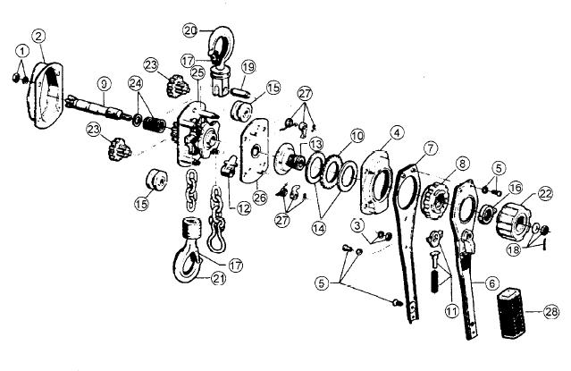 3 4 ton chain hoist diagram