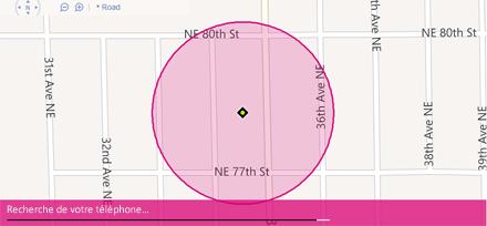 Carte de Localiser mon téléphone indiquant l'emplacement d'un téléphone