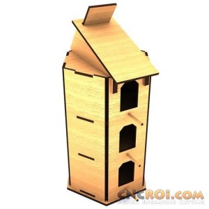 cnc-laser-cut-birdhousec Bird House C