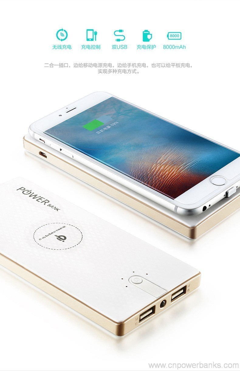 Wireless Battery Charger Wireless Charging Power Bank 8000mah External Battery Charger For Samsung Phone