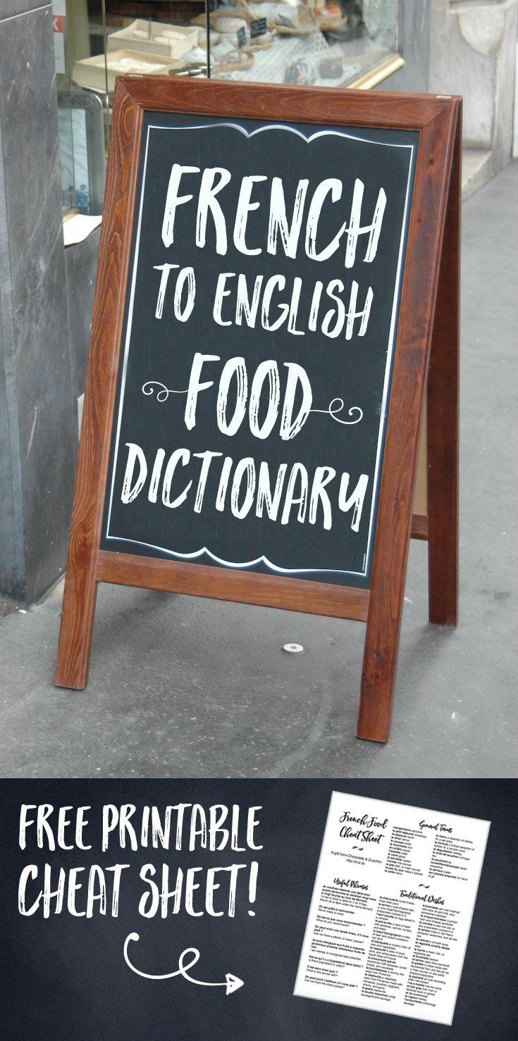 Cafe Carte Grise French English Food Dictionary Chocolate Zucchini