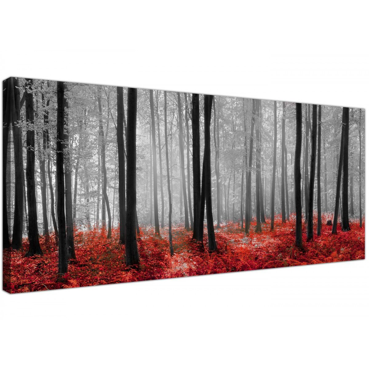 Black And White Canvas Prints Black White And Red Trees Panoramic Forest Canvas Wall Art