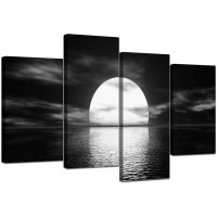Black and White Canvas - Ocean Sunset Canvas Wall Art