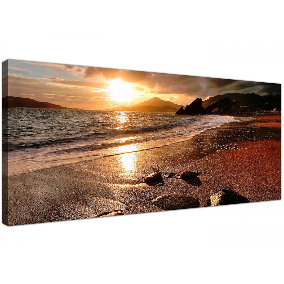 Beach Prints Wide Canvas Prints Of A Beach Sunset For Your Living Room