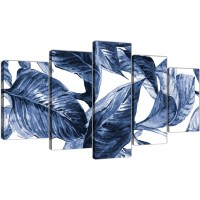Extra Large Indigo Navy Blue White Tropical Leaves Canvas ...