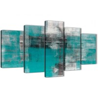 5 Part Teal Black White Painting Abstract Office Canvas ...