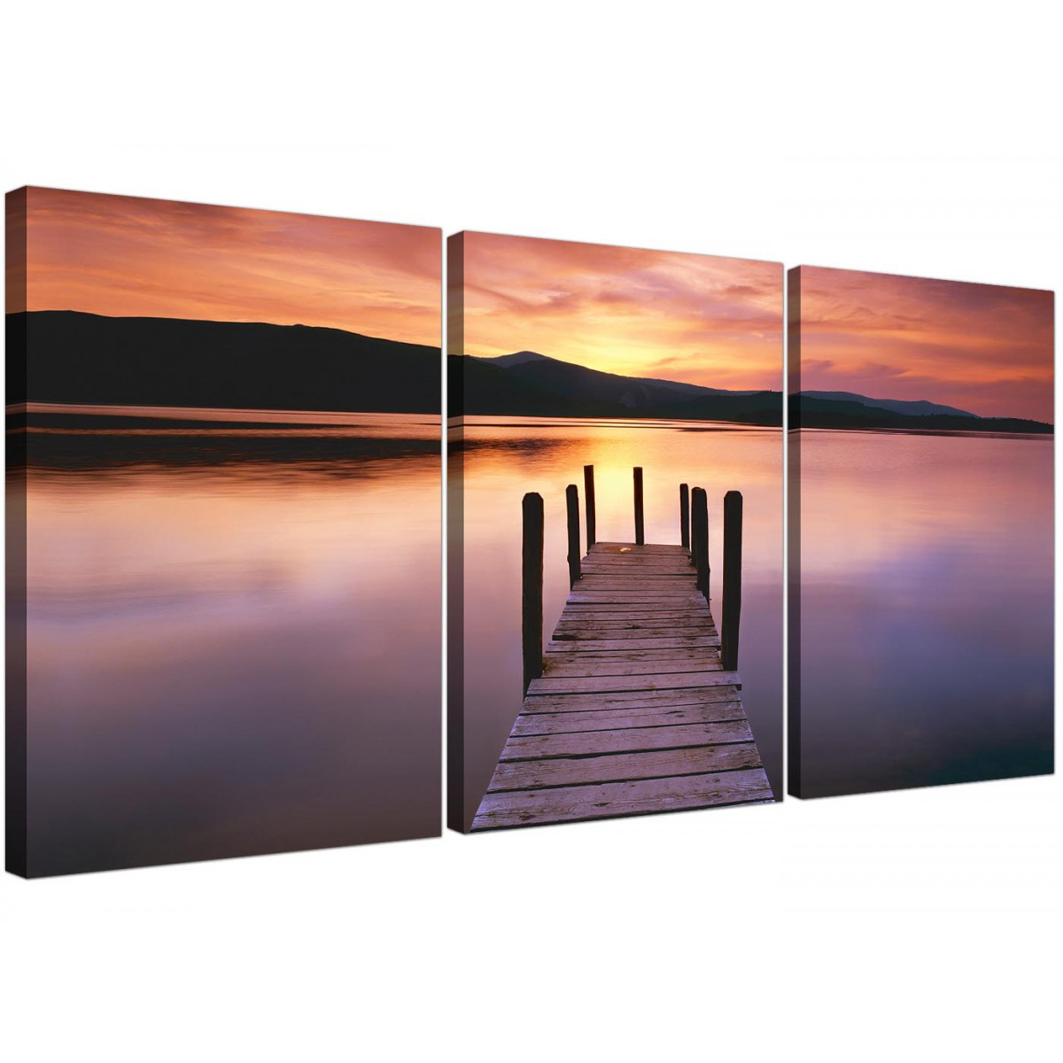 Cheap Canvas Pictures Cheap Lake Sunset Canvas Prints Set Of 3 For Your Living Room